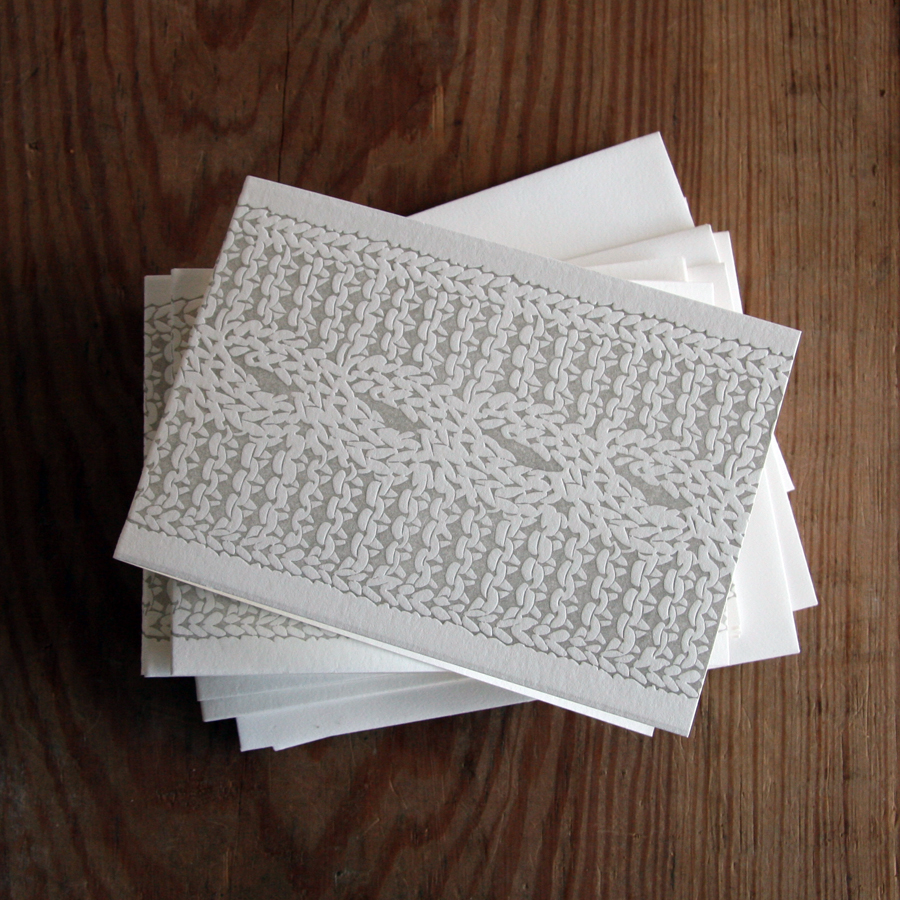 Cable knit letterpress folded cards envelopes red bird ink img9371e reheart Images