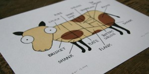 Cow Parts No.1 - the Cream Cow Letterpress Art Print