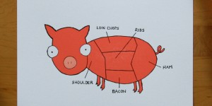 (Sold Out)  Pig Parts - the Pink Pig Letterpress Art Print