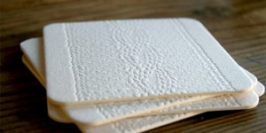 Cable Knit Coasters in White