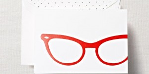 (SOLD OUT) Cat Eye Glasses Folded Notes & Lined Envelopes