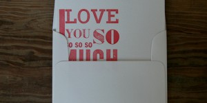 (SOLD OUT) I love you SO much: Letterpress Flat Card & Envelope