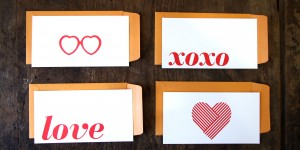 Love Letters: Set of 4 Flat Cards & Envelopes
