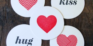 Heart Geometry & Hug/Kiss: Letterpress Coasters (10ct)